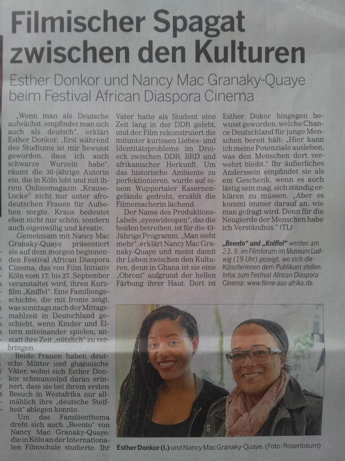 Kölnische Rundschau vom 17. September 2015